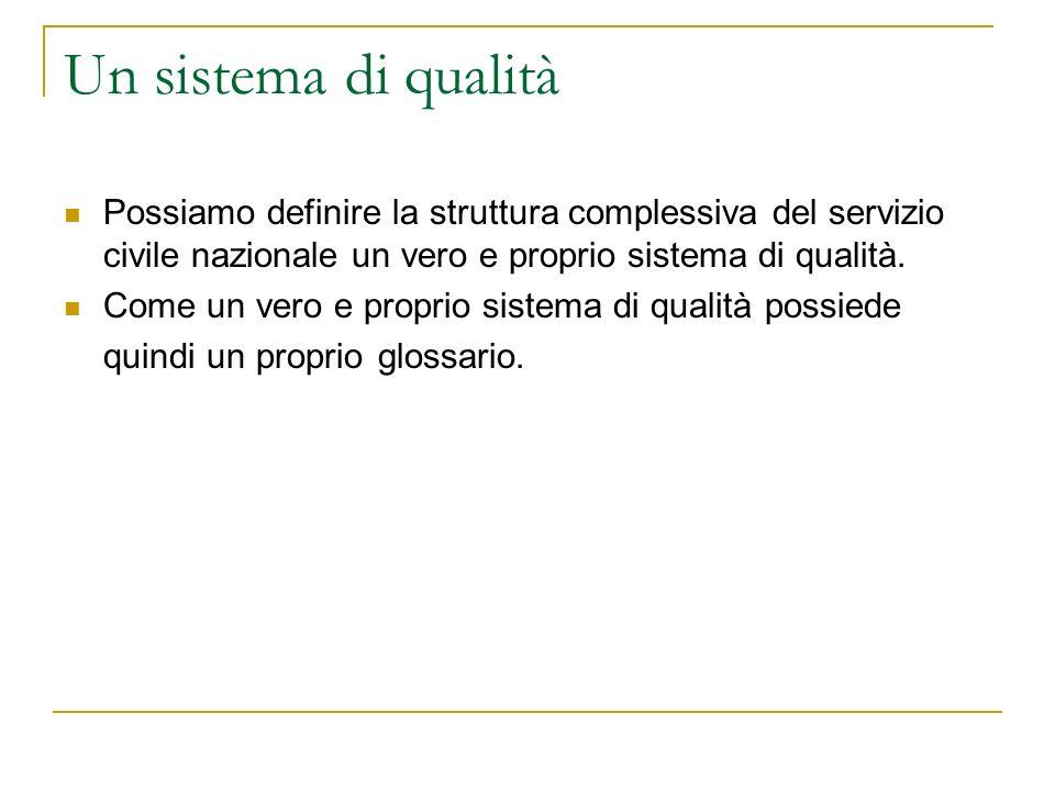 Un sistema di qualità Possiamo definire la struttura complessiva del servizio civile nazionale un vero e proprio sistema di qualità. Come un vero e pr