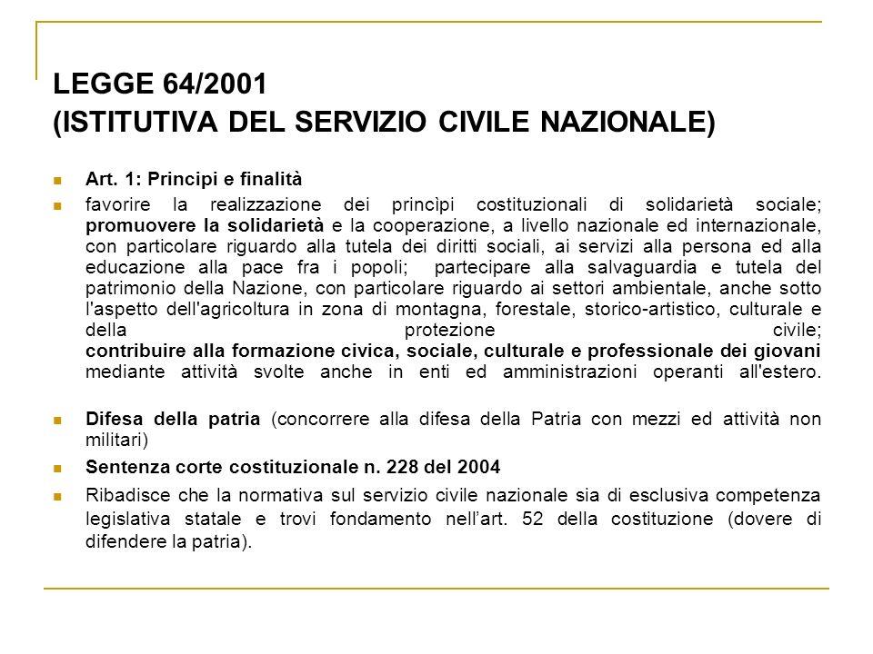 LEGGE 64/2001 (ISTITUTIVA DEL SERVIZIO CIVILE NAZIONALE) Art. 1: Principi e finalità favorire la realizzazione dei princìpi costituzionali di solidari