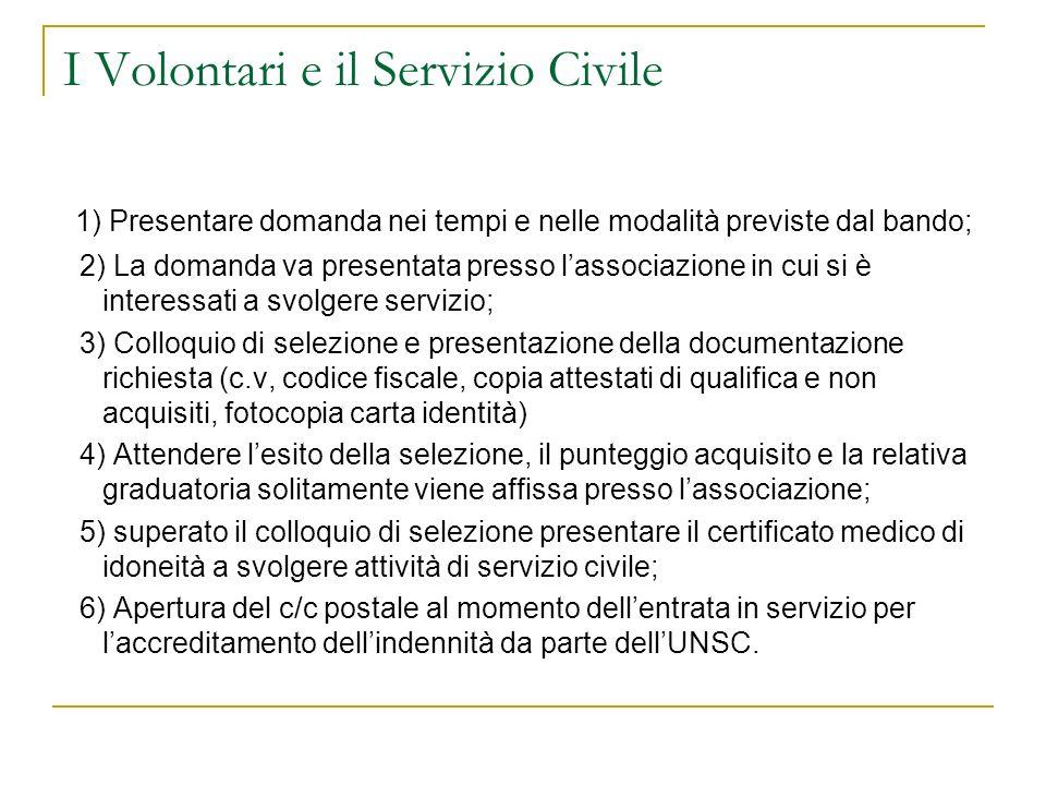 I Volontari e il Servizio Civile 1) Presentare domanda nei tempi e nelle modalità previste dal bando; 2) La domanda va presentata presso lassociazione