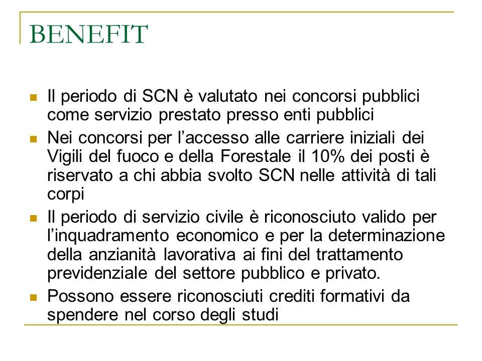 BENEFIT Il periodo di SCN è valutato nei concorsi pubblici come servizio prestato presso enti pubblici Nei concorsi per laccesso alle carriere inizial