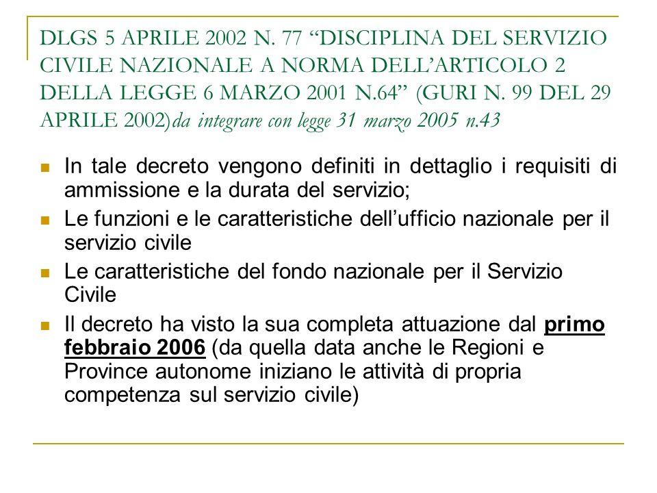 DLGS 5 APRILE 2002 N. 77 DISCIPLINA DEL SERVIZIO CIVILE NAZIONALE A NORMA DELLARTICOLO 2 DELLA LEGGE 6 MARZO 2001 N.64 (GURI N. 99 DEL 29 APRILE 2002)