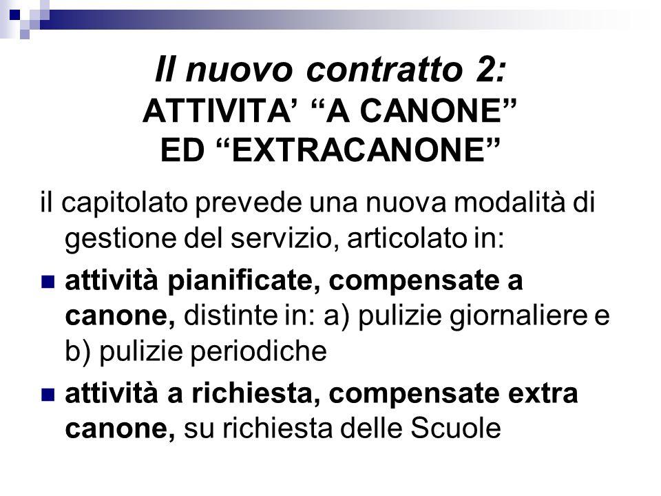 Il nuovo contratto 2: ATTIVITA A CANONE ED EXTRACANONE il capitolato prevede una nuova modalità di gestione del servizio, articolato in: attività pian