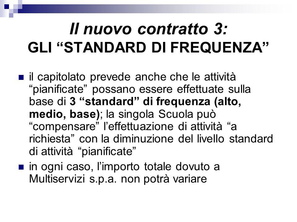 il capitolato prevede anche che le attività pianificate possano essere effettuate sulla base di 3 standard di frequenza (alto, medio, base); la singol
