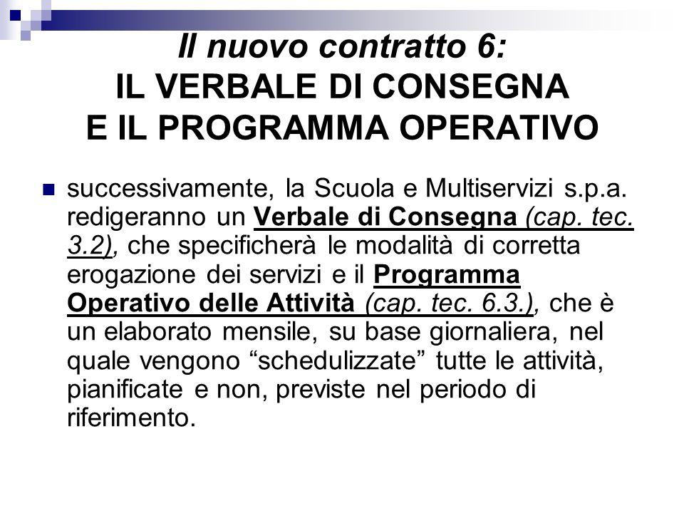 Il nuovo contratto 6: IL VERBALE DI CONSEGNA E IL PROGRAMMA OPERATIVO successivamente, la Scuola e Multiservizi s.p.a. redigeranno un Verbale di Conse
