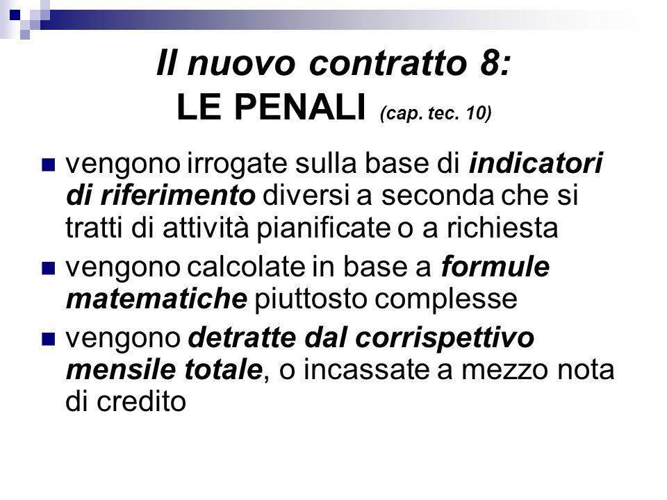 Il nuovo contratto 8: LE PENALI (cap. tec. 10) vengono irrogate sulla base di indicatori di riferimento diversi a seconda che si tratti di attività pi