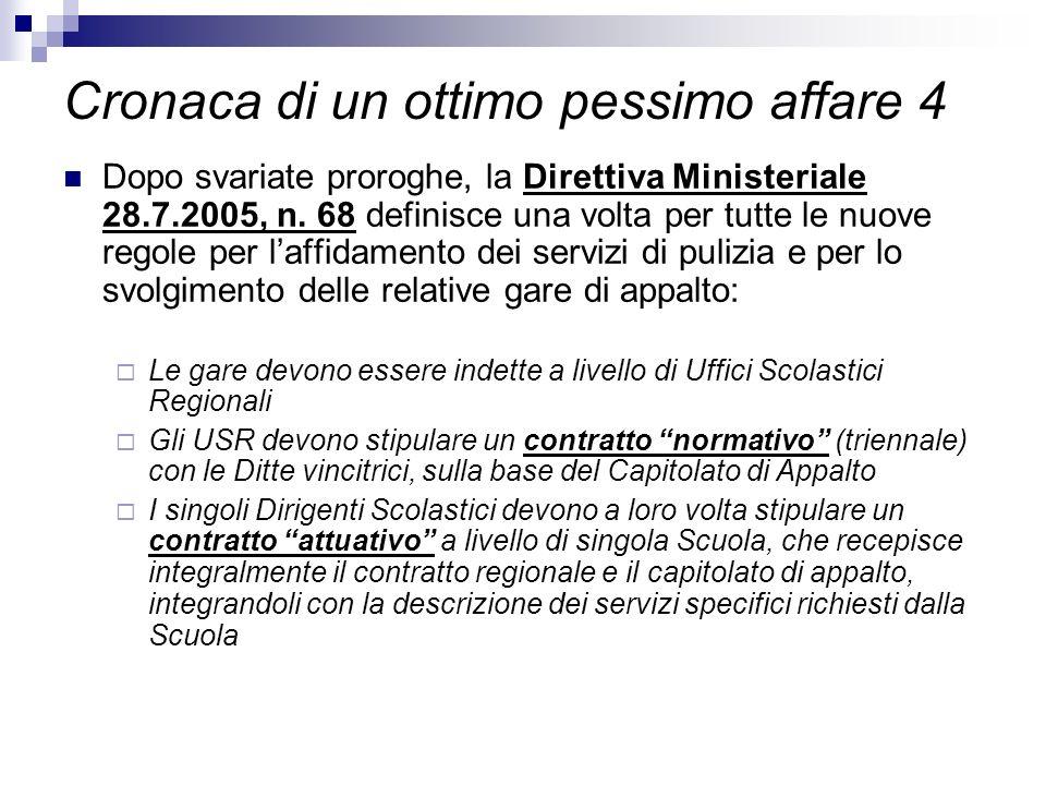 Cronaca di un ottimo pessimo affare 4 Dopo svariate proroghe, la Direttiva Ministeriale 28.7.2005, n. 68 definisce una volta per tutte le nuove regole