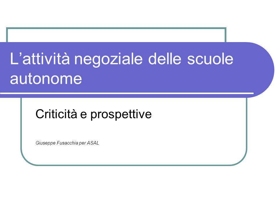 Lattività negoziale delle scuole autonome Criticità e prospettive Giuseppe Fusacchia per ASAL