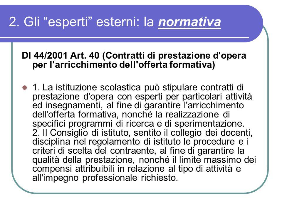 2. Gli esperti esterni: la normativa DI 44/2001 Art. 40 (Contratti di prestazione d'opera per l'arricchimento dell'offerta formativa) 1. La istituzion