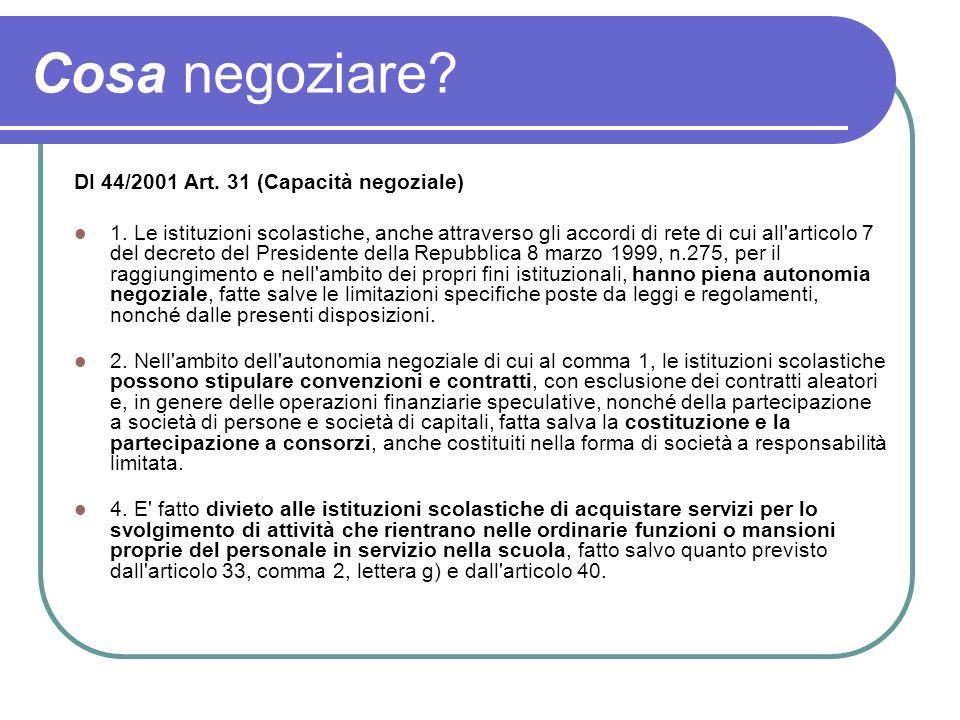 Cosa negoziare? DI 44/2001 Art. 31 (Capacità negoziale) 1. Le istituzioni scolastiche, anche attraverso gli accordi di rete di cui all'articolo 7 del