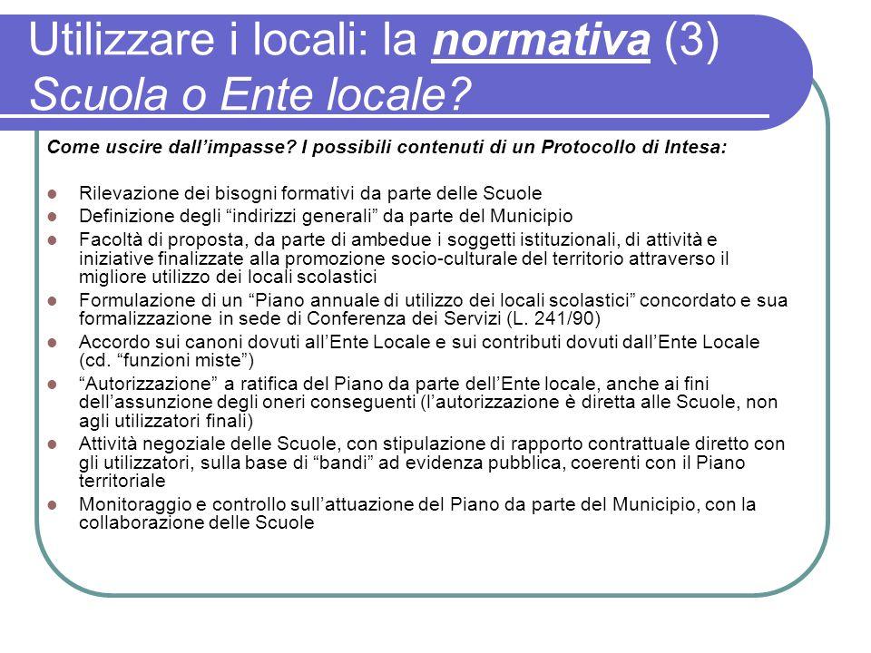 Utilizzare i locali: la normativa (3) Scuola o Ente locale? Come uscire dallimpasse? I possibili contenuti di un Protocollo di Intesa: Rilevazione dei