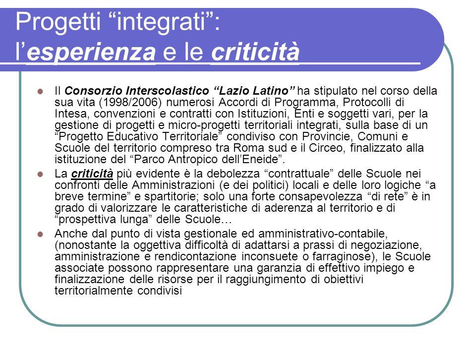Progetti integrati: lesperienza e le criticità Il Consorzio Interscolastico Lazio Latino ha stipulato nel corso della sua vita (1998/2006) numerosi Ac