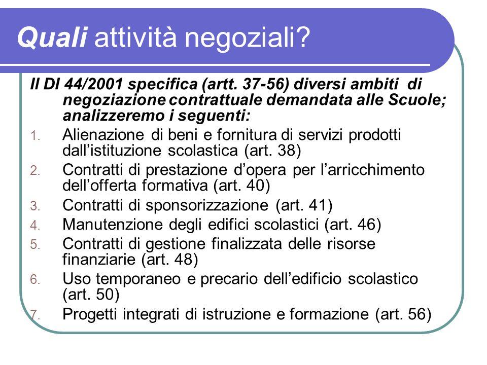 Quali attività negoziali? Il DI 44/2001 specifica (artt. 37-56) diversi ambiti di negoziazione contrattuale demandata alle Scuole; analizzeremo i segu