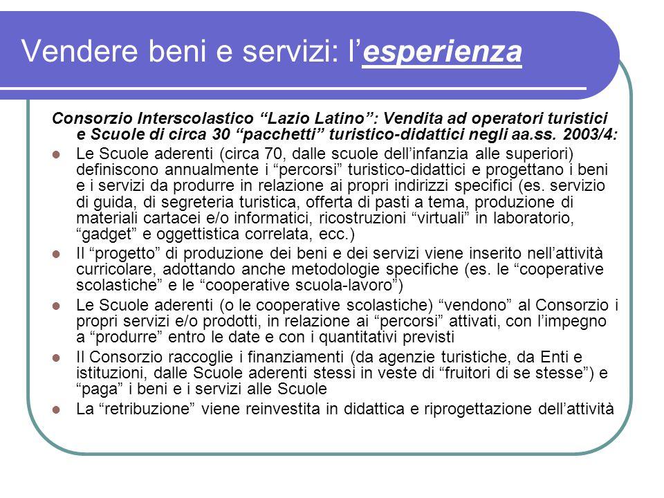 Vendere beni e servizi: lesperienza Consorzio Interscolastico Lazio Latino: Vendita ad operatori turistici e Scuole di circa 30 pacchetti turistico-didattici negli aa.ss.