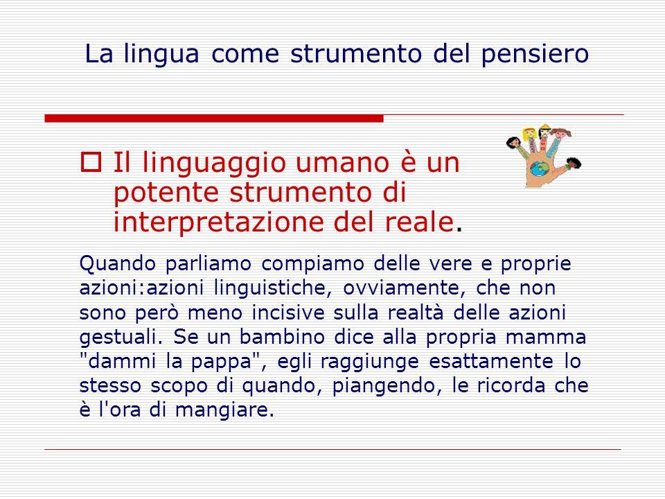 Il linguaggio umano è un potente strumento di interpretazione del reale.