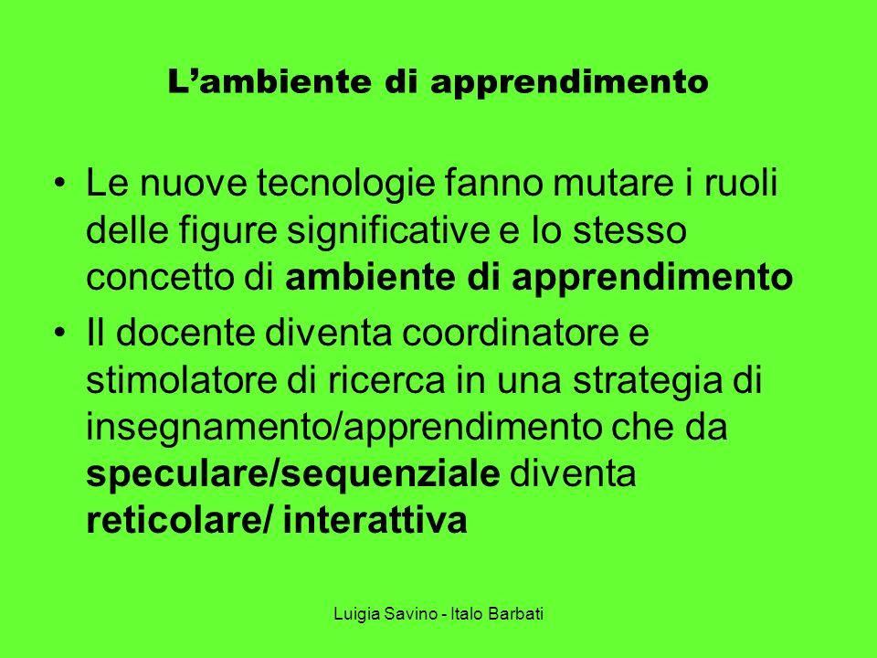 Luigia Savino - Italo Barbati Lambiente di apprendimento Le nuove tecnologie fanno mutare i ruoli delle figure significative e lo stesso concetto di a