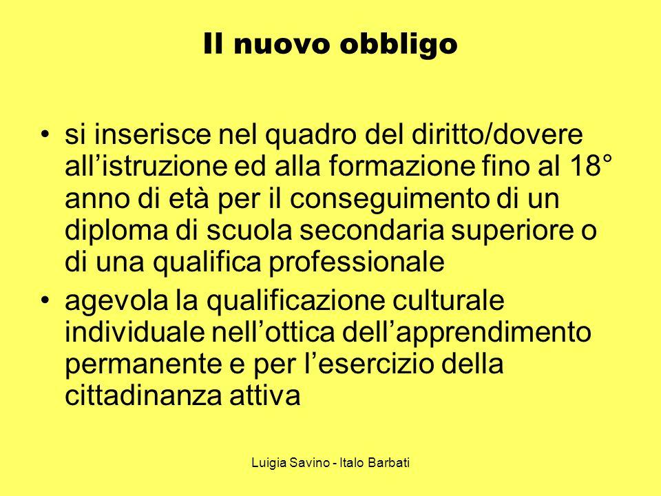 Luigia Savino - Italo Barbati Il nuovo obbligo si inserisce nel quadro del diritto/dovere allistruzione ed alla formazione fino al 18° anno di età per