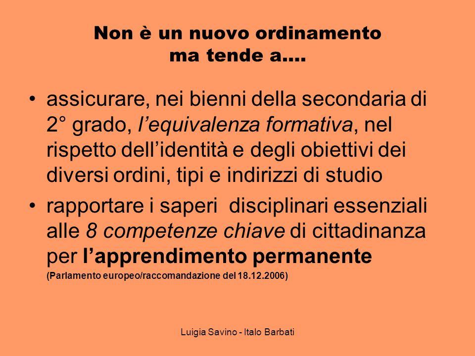 Luigia Savino - Italo Barbati Non è un nuovo ordinamento ma tende a…. assicurare, nei bienni della secondaria di 2° grado, lequivalenza formativa, nel