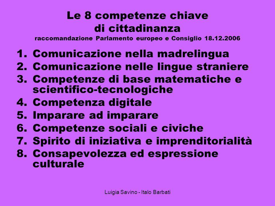 Luigia Savino - Italo Barbati Le 8 competenze chiave di cittadinanza raccomandazione Parlamento europeo e Consiglio 18.12.2006 1.Comunicazione nella m