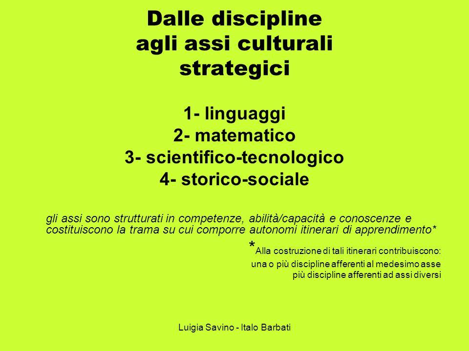 Luigia Savino - Italo Barbati Dalle discipline agli assi culturali strategici 1- linguaggi 2- matematico 3- scientifico-tecnologico 4- storico-sociale