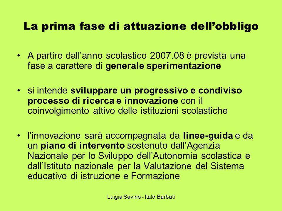Luigia Savino - Italo Barbati La prima fase di attuazione dellobbligo A partire dallanno scolastico 2007.08 è prevista una fase a carattere di general