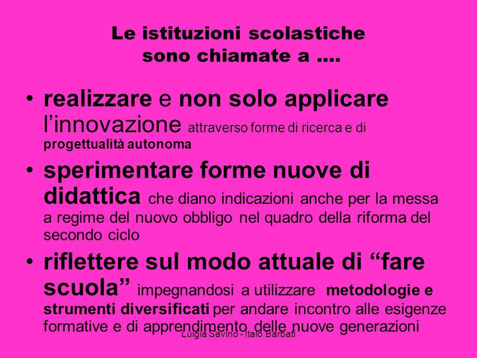 Luigia Savino - Italo Barbati Le istituzioni scolastiche sono chiamate a …. realizzare e non solo applicare linnovazione attraverso forme di ricerca e
