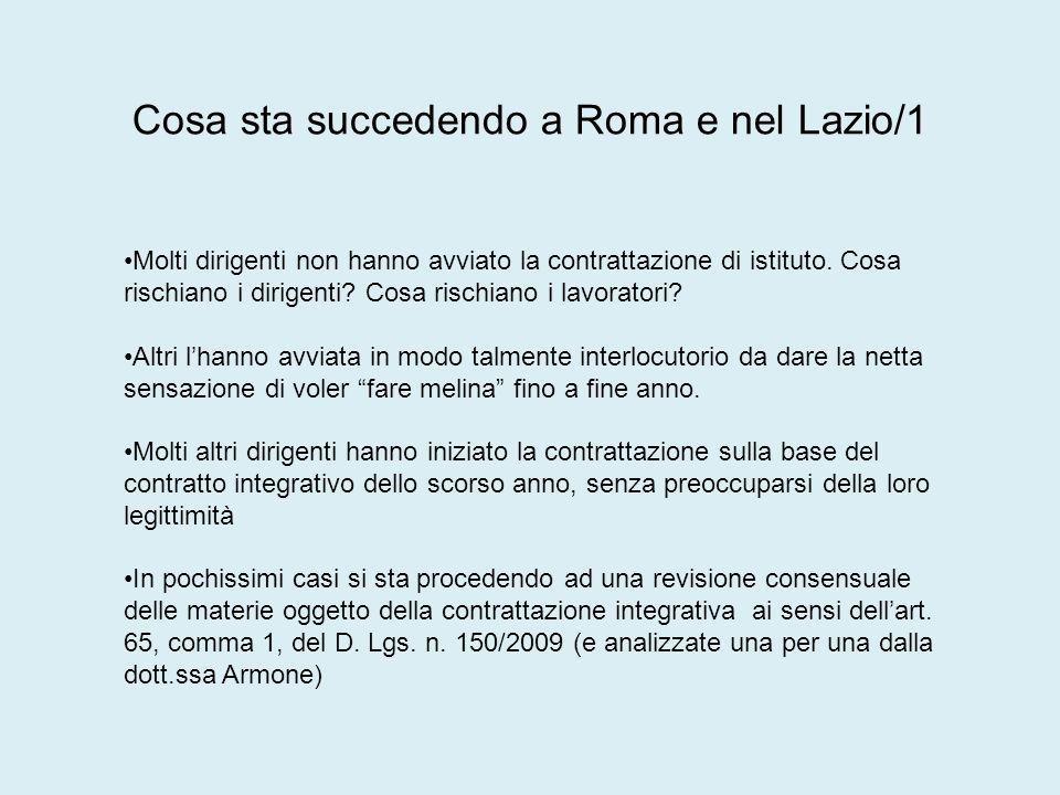 Cosa sta succedendo a Roma e nel Lazio/1 Molti dirigenti non hanno avviato la contrattazione di istituto.