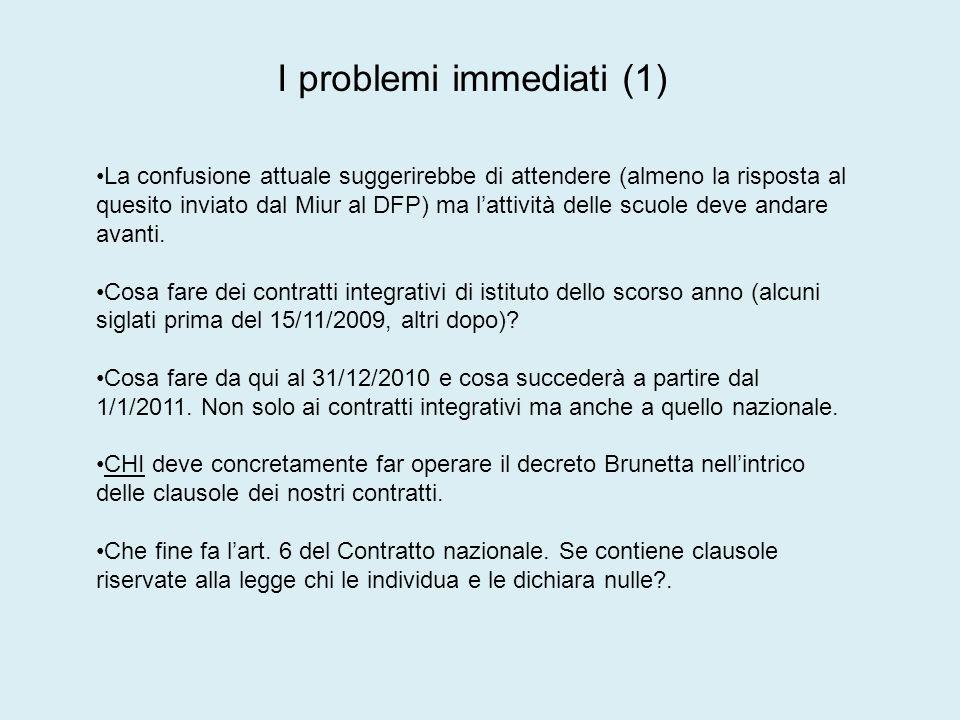 I problemi immediati (1) La confusione attuale suggerirebbe di attendere (almeno la risposta al quesito inviato dal Miur al DFP) ma lattività delle scuole deve andare avanti.