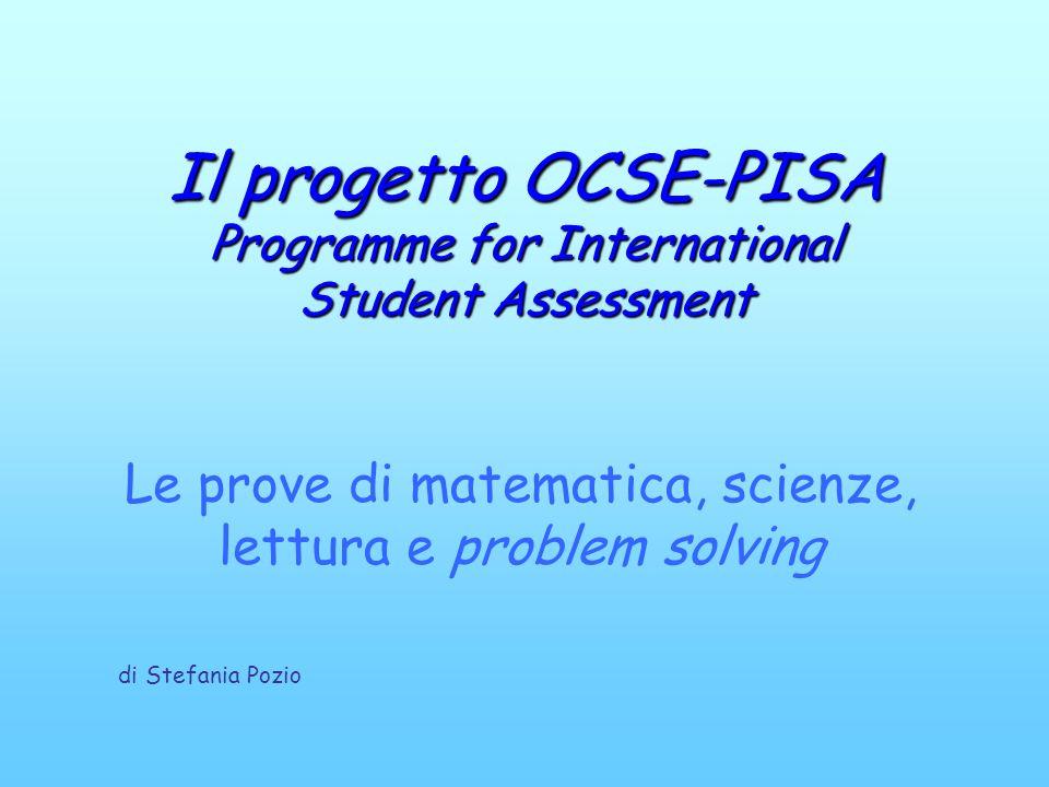 Le prove di matematica, scienze, lettura e problem solving Il progettoOCSE-PISA Programme for International Student Assessment Il progetto OCSE-PISA P