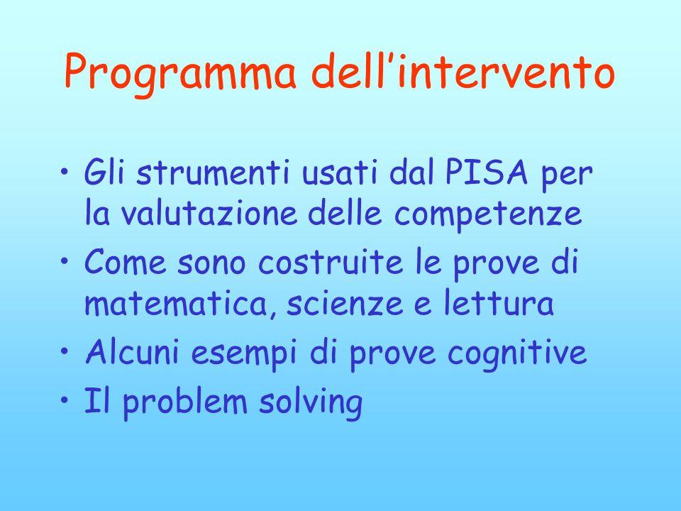 Programma dellintervento Gli strumenti usati dal PISA per la valutazione delle competenze Come sono costruite le prove di matematica, scienze e lettur