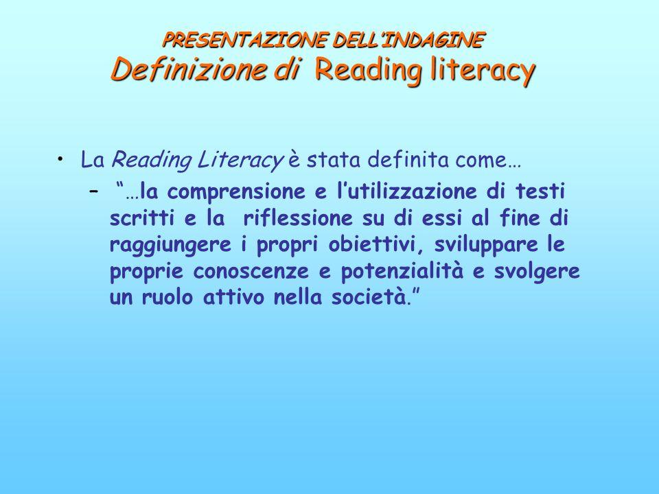 PRESENTAZIONE DELLINDAGINE Definizione di Reading literacy La Reading Literacy è stata definita come… – …la comprensione e lutilizzazione di testi scr