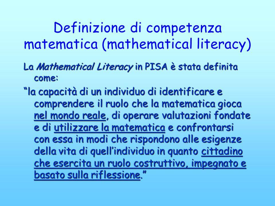 Definizione di competenza matematica (mathematical literacy) La Mathematical Literacy in PISA è stata definita come: la capacità di un individuo di id