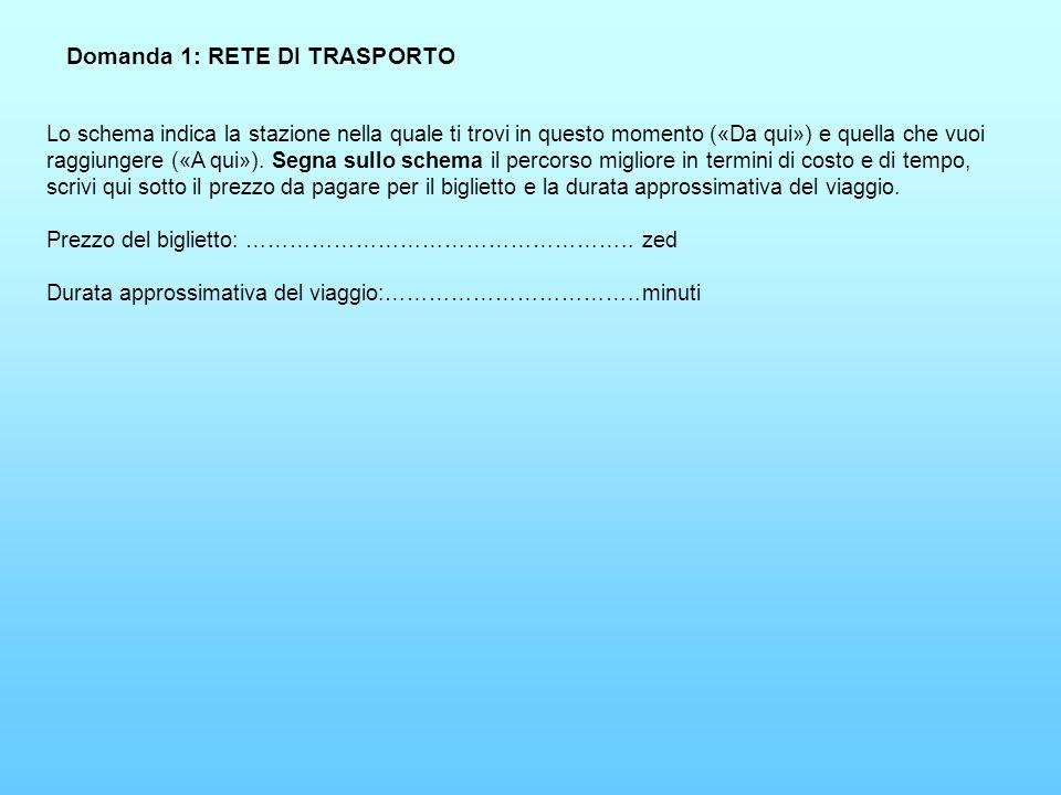 Domanda 1: RETE DI TRASPORTO Lo schema indica la stazione nella quale ti trovi in questo momento («Da qui») e quella che vuoi raggiungere («A qui»). S