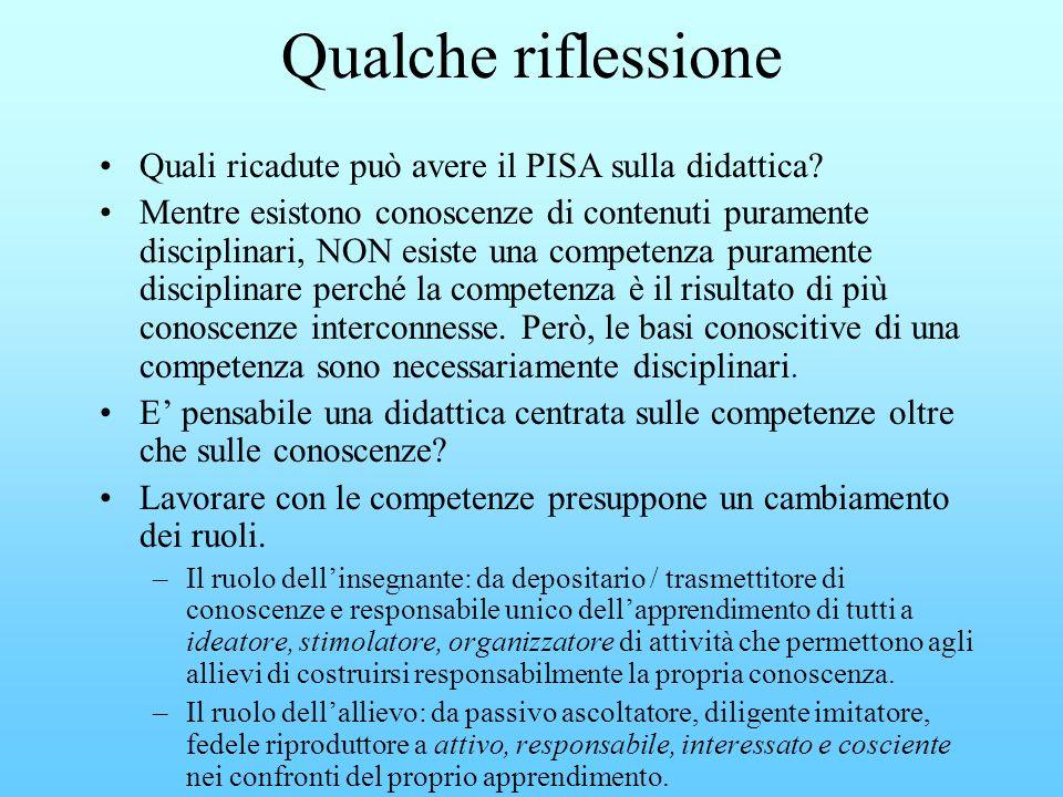 Qualche riflessione Quali ricadute può avere il PISA sulla didattica? Mentre esistono conoscenze di contenuti puramente disciplinari, NON esiste una c