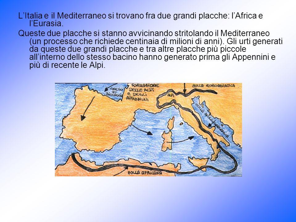 LItalia e il Mediterraneo si trovano fra due grandi placche: lAfrica e lEurasia. Queste due placche si stanno avvicinando stritolando il Mediterraneo