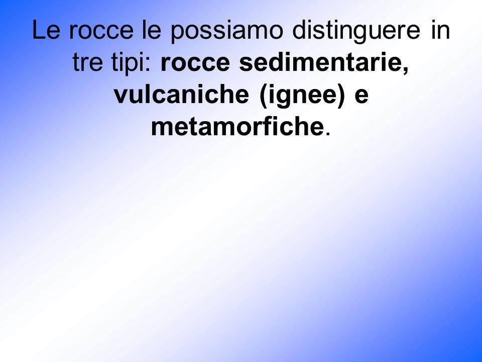 Le rocce le possiamo distinguere in tre tipi: rocce sedimentarie, vulcaniche (ignee) e metamorfiche.