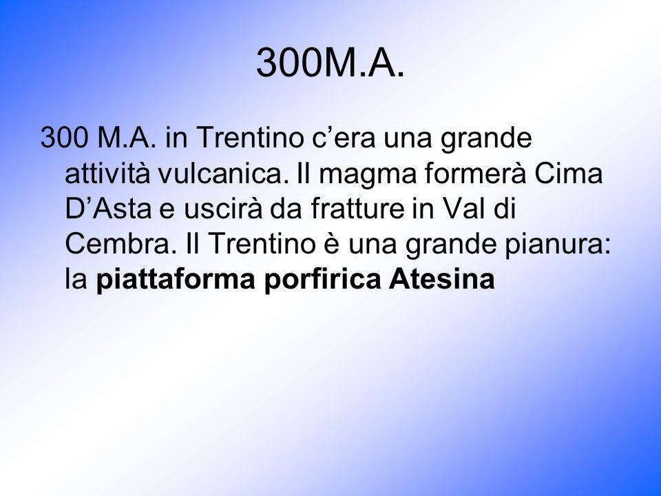 300M.A. 300 M.A. in Trentino cera una grande attività vulcanica. Il magma formerà Cima DAsta e uscirà da fratture in Val di Cembra. Il Trentino è una