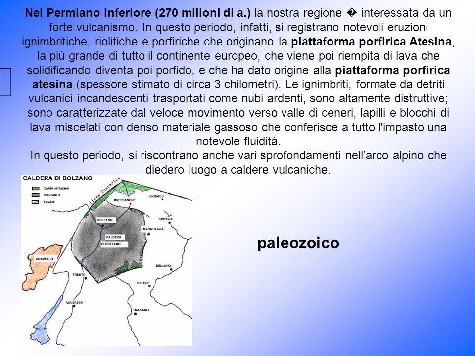 Nel Permiano inferiore (270 milioni di a.) la nostra regione interessata da un forte vulcanismo. In questo periodo, infatti, si registrano notevoli er