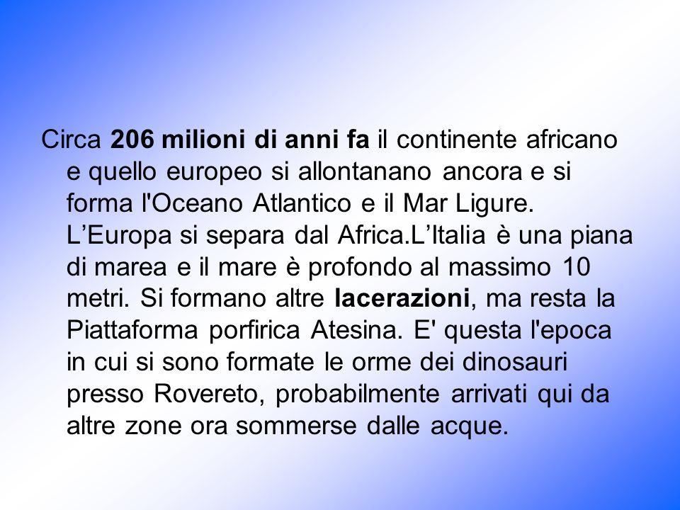 Circa 206 milioni di anni fa il continente africano e quello europeo si allontanano ancora e si forma l'Oceano Atlantico e il Mar Ligure. LEuropa si s