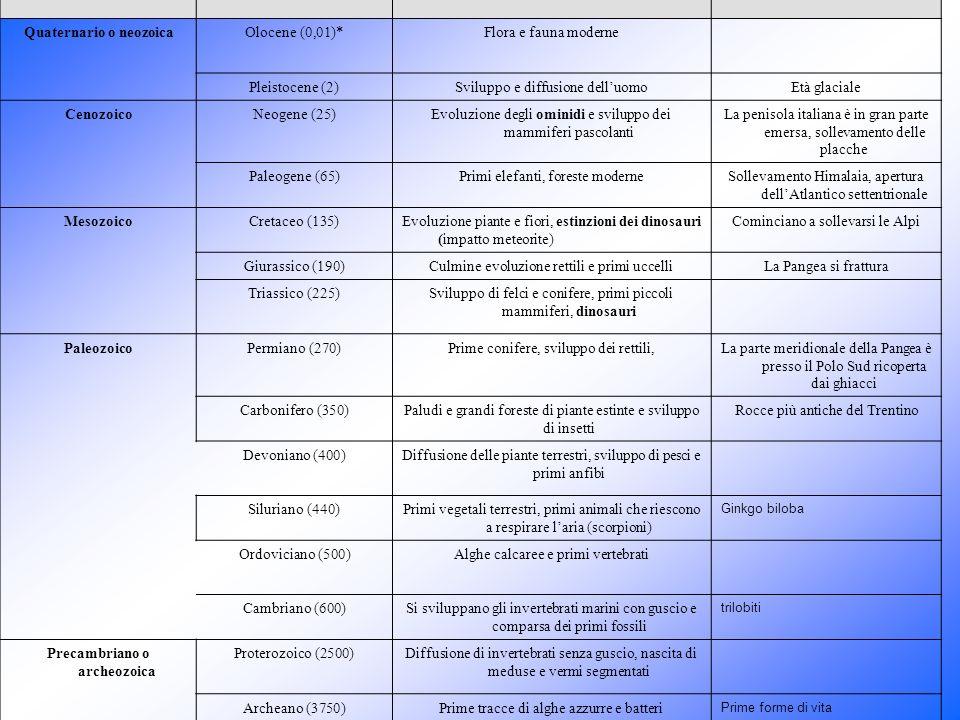 Era PeriodoEventi della storiaAltri eventi Quaternario o neozoicaOlocene (0,01)*Flora e fauna moderne Pleistocene (2)Sviluppo e diffusione delluomoEtà