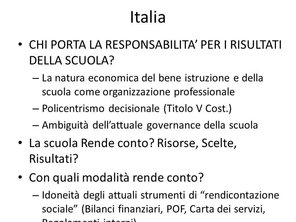 Italia CHI PORTA LA RESPONSABILITA PER I RISULTATI DELLA SCUOLA? – La natura economica del bene istruzione e della scuola come organizzazione professi