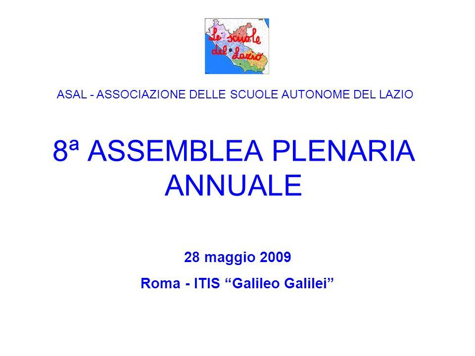 8ª ASSEMBLEA PLENARIA ANNUALE 28 maggio 2009 Roma - ITIS Galileo Galilei ASAL - ASSOCIAZIONE DELLE SCUOLE AUTONOME DEL LAZIO