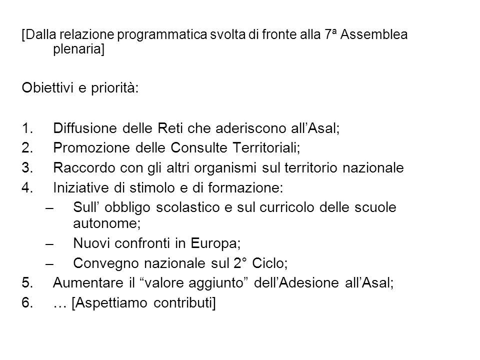 [Dalla relazione programmatica svolta di fronte alla 7ª Assemblea plenaria] Obiettivi e priorità: 1.Diffusione delle Reti che aderiscono allAsal; 2.Pr