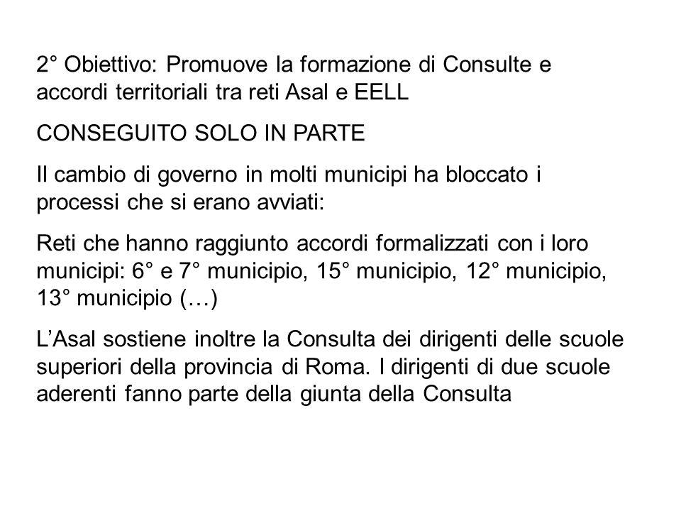 2° Obiettivo: Promuove la formazione di Consulte e accordi territoriali tra reti Asal e EELL CONSEGUITO SOLO IN PARTE Il cambio di governo in molti mu