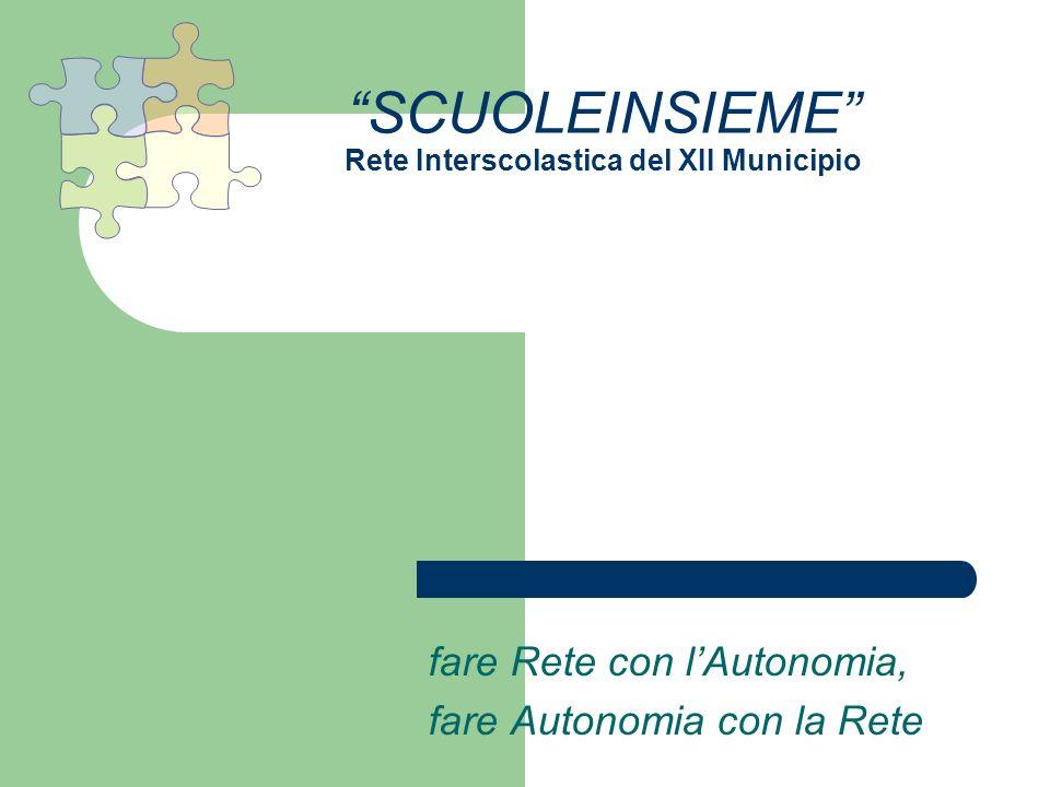 SCUOLEINSIEME Rete Interscolastica del XII Municipio fare Rete con lAutonomia, fare Autonomia con la Rete