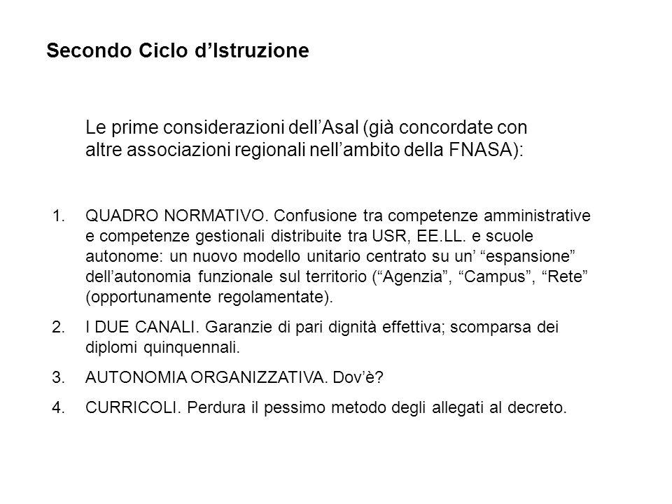 Secondo Ciclo dIstruzione Le prime considerazioni dellAsal (già concordate con altre associazioni regionali nellambito della FNASA): 1.QUADRO NORMATIVO.