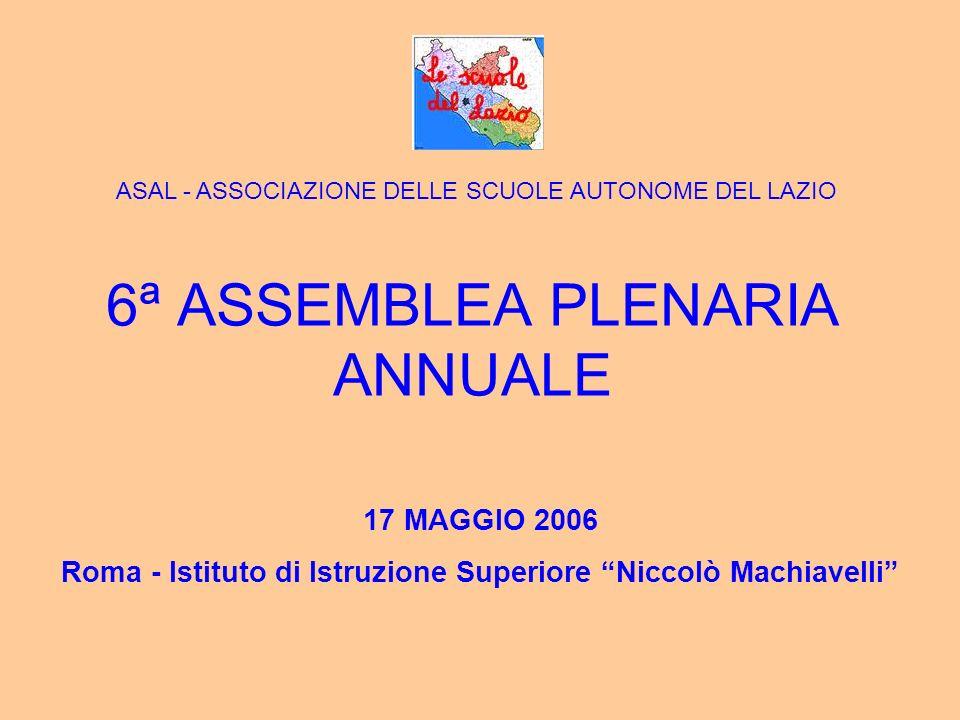 6ª ASSEMBLEA PLENARIA ANNUALE 17 MAGGIO 2006 Roma - Istituto di Istruzione Superiore Niccolò Machiavelli ASAL - ASSOCIAZIONE DELLE SCUOLE AUTONOME DEL LAZIO