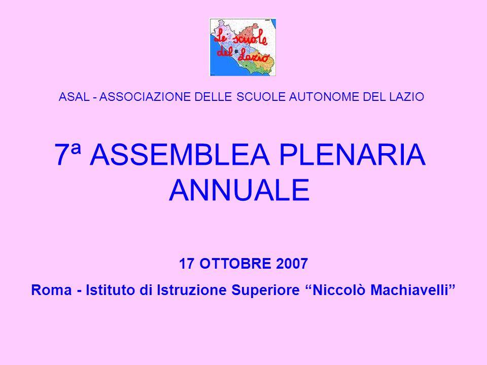 7ª ASSEMBLEA PLENARIA ANNUALE 17 OTTOBRE 2007 Roma - Istituto di Istruzione Superiore Niccolò Machiavelli ASAL - ASSOCIAZIONE DELLE SCUOLE AUTONOME DEL LAZIO