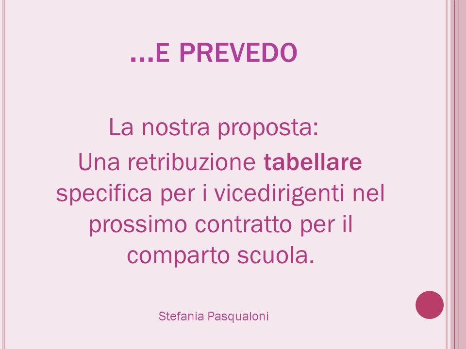 … E PREVEDO La nostra proposta: Una retribuzione tabellare specifica per i vicedirigenti nel prossimo contratto per il comparto scuola. Stefania Pasqu