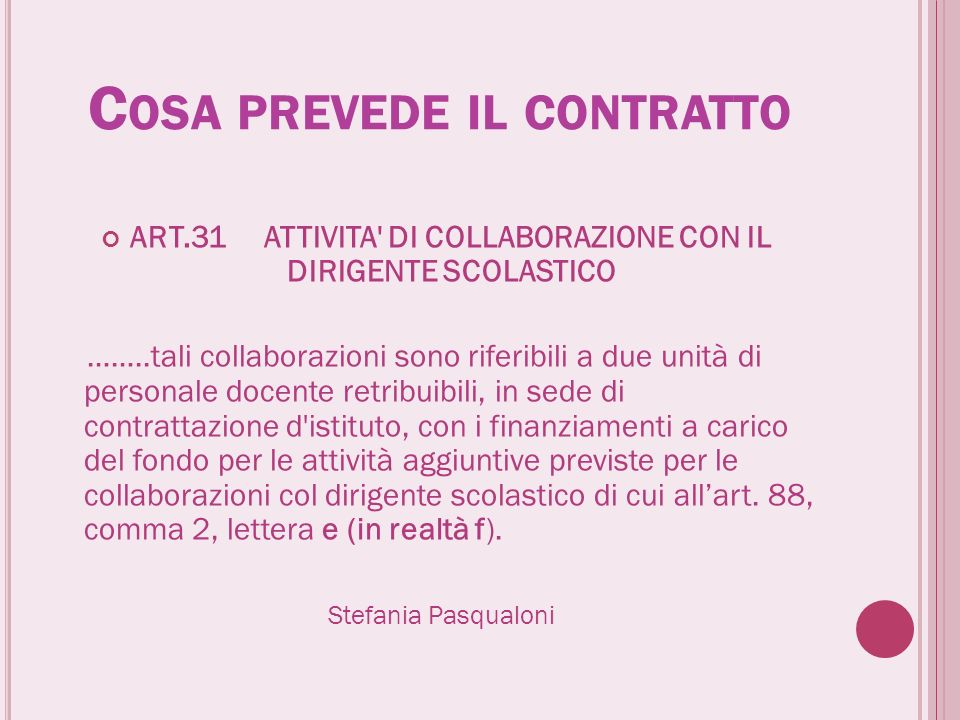 C OSA PREVEDE IL CONTRATTO ART.31 ATTIVITA' DI COLLABORAZIONE CON IL DIRIGENTE SCOLASTICO ……..tali collaborazioni sono riferibili a due unità di perso