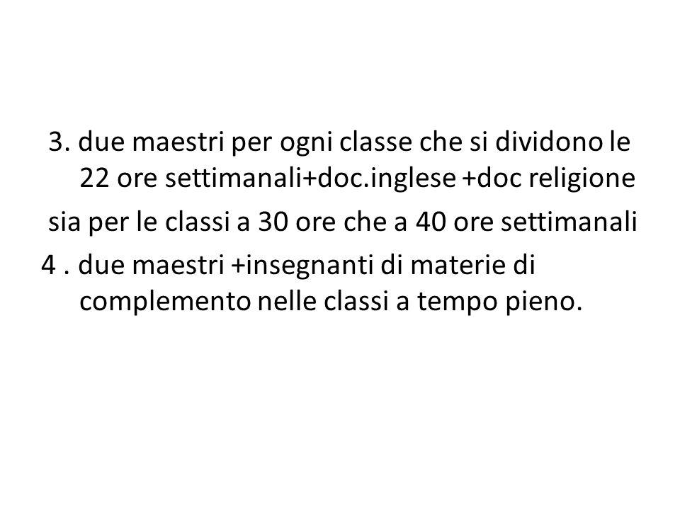 3. due maestri per ogni classe che si dividono le 22 ore settimanali+doc.inglese +doc religione sia per le classi a 30 ore che a 40 ore settimanali 4.